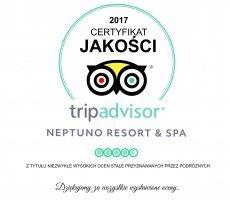 Neptuno Resort & Spa wyróżnione prestiżowym Certyfikatem Jakości 2017 przez serwis TripAdvisor