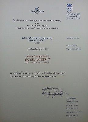 Podziękowania od Uniwersytetu Jagiellońskiego
