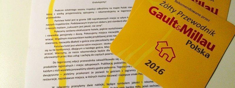 Kolejny sukces - HOT_elarnia w gronie wyróżnionych w II edycji Żółtego Przewodnika Gault&Millau Polska 2016