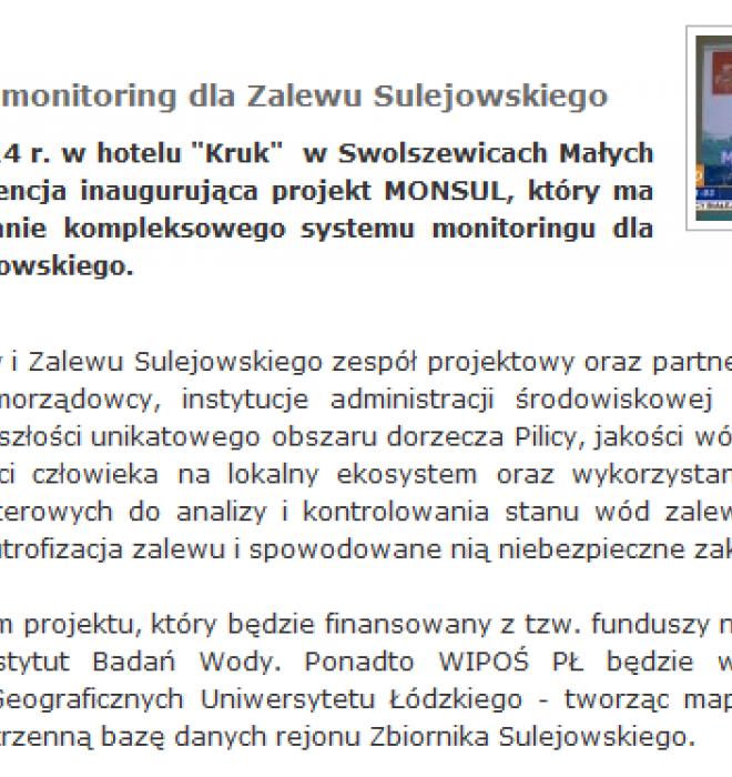 MONSUL - czyli monitoring dla Zalewu Sulejowskiego