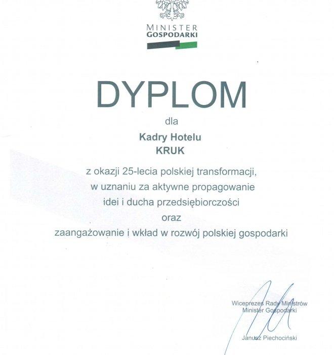 Hotel Kruk uhonorowany dyplomem ministra gospodarki