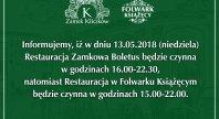 2018-05-10 - Godziny otwarcia Restauracji w Zamku Kliczków oraz w Folwarku Książęcym w dniu 13.05.2018 r.