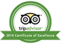 TripAdvisor Certificate of Excellence 2014