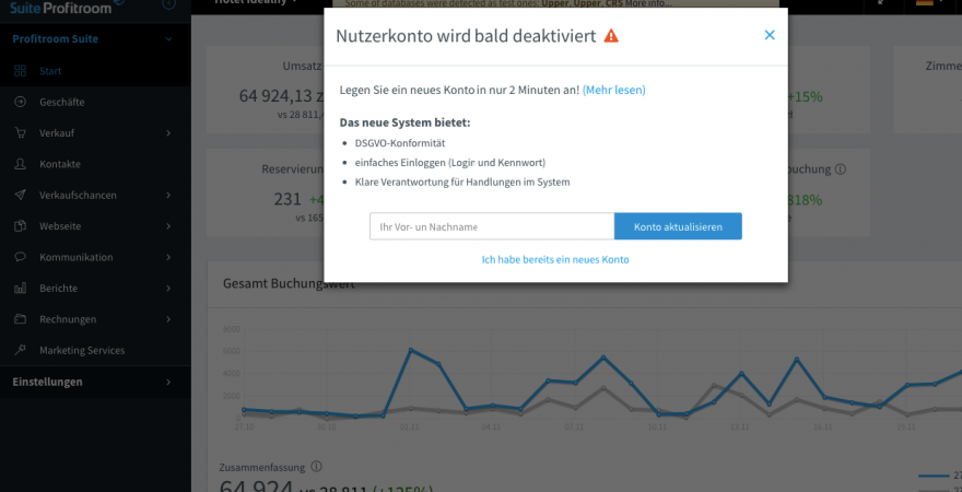 Neues Account in Profitroom Suite!