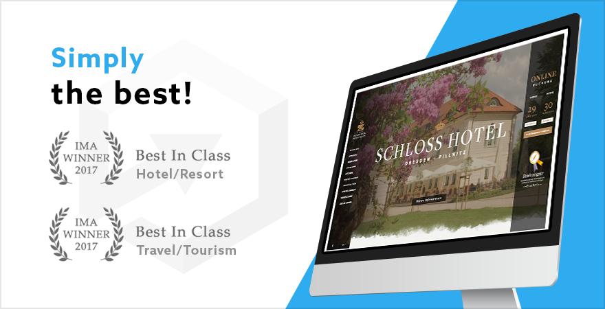 Doppelgewinn für die Schloss Hotel Dresden - Pillnitz Website von Profitroom in einem internationalen Wettbewerb!