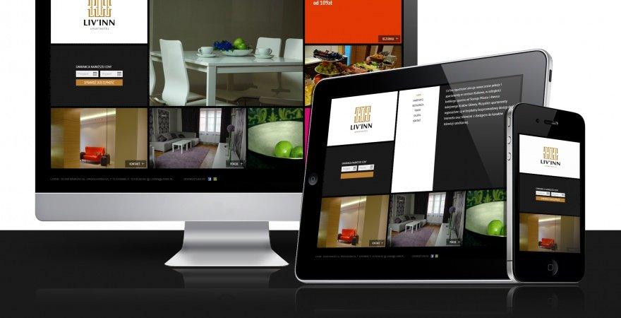 Strona ApartHotel LIV'INN – wzorowa inspiracja Modern UI