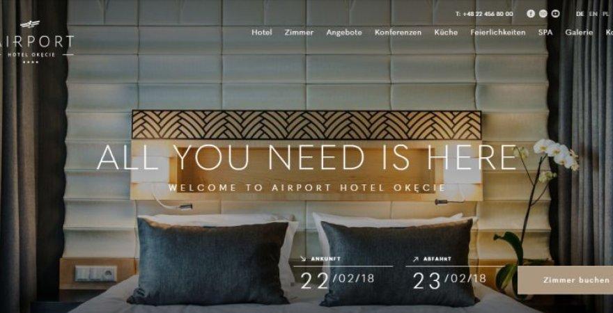 coole Webseite von Hotel Airport Okecie