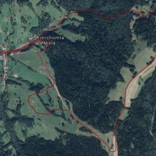 Mapa biegu Warriors Run w Wierchomli