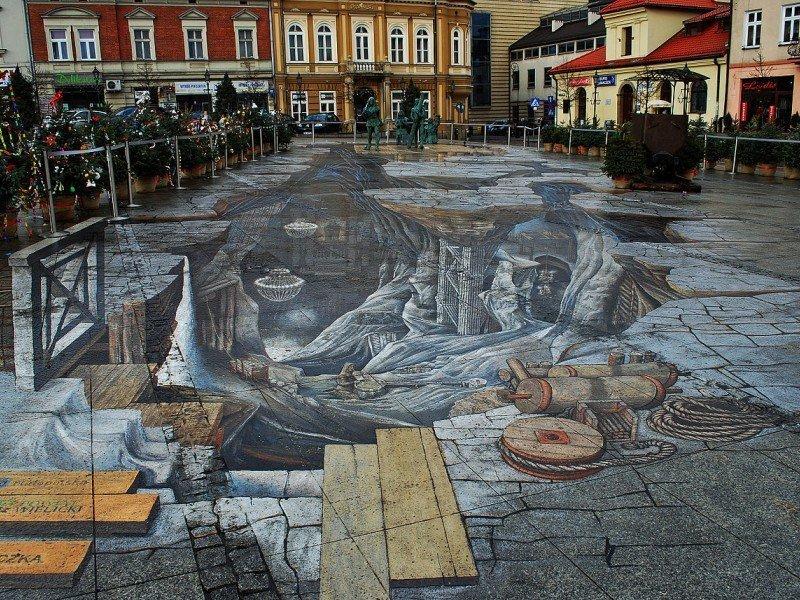 3D street-art Solny Świat