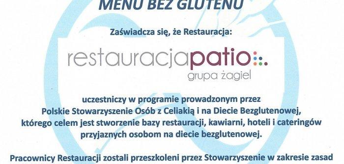 Menu bez glutenu w Restauracji Patio