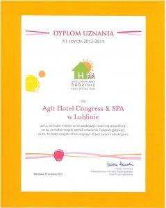 DYPLOM UZNANIA dla Agit Hotel Congress & Spa