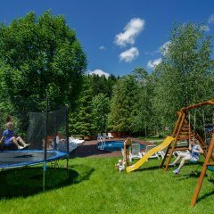Playground (swing, slide and trampoline)