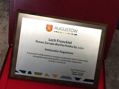 Ambasador Augustowa - Prezes Zarządu BiaVita Polska S.A. Lech Fronckiel