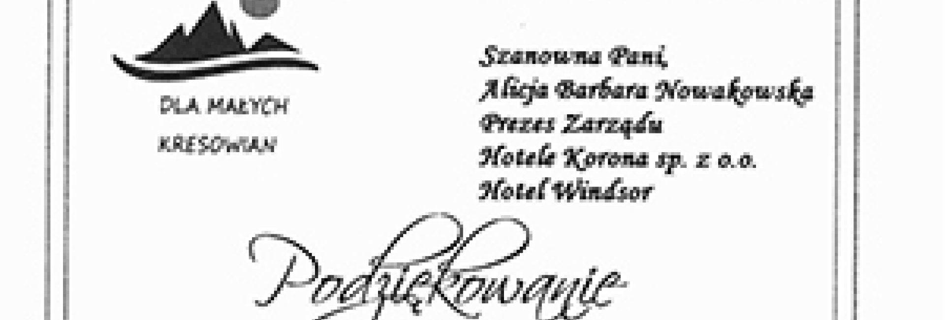 Podziękowanie dla Hotelu Windsor!