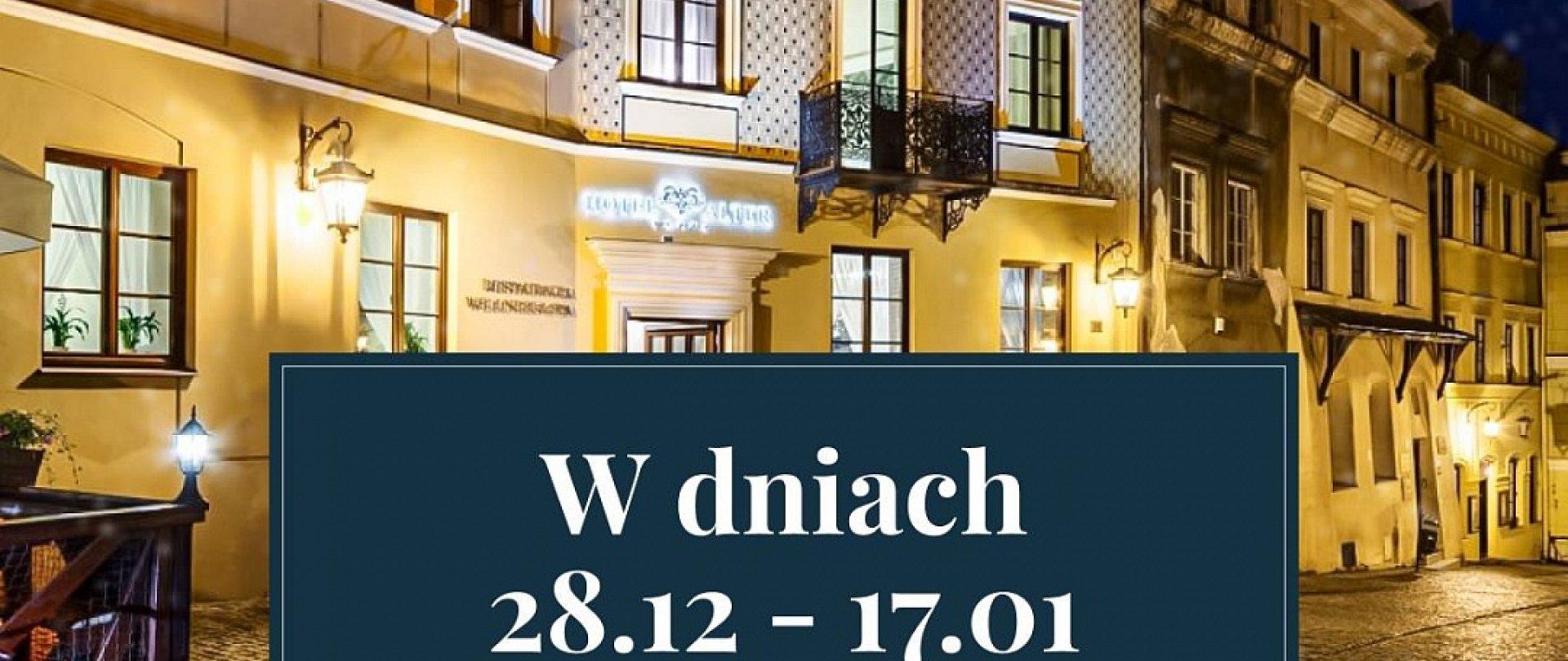 W dniach 28.12.2020 - 17.01.2021 Hotel Alter jest tymczasowo zamknięty