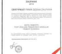 """2018-06-07 - Certyfikat """"Firma Godna Zaufania"""""""